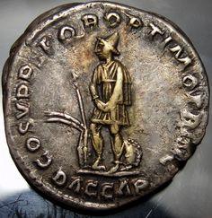 TRAJAN.DACIAN with folk Clothes. Gold.IRIDESCENT tone.Very Rare Roman Coin. Antique Coins, Old Coins, Transylvania Romania, Coin Worth, Bronze, Ancient Rome, Roman Empire, Medieval, Folk