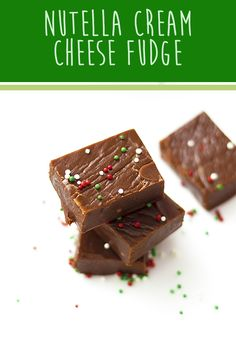 Nutella fudge with a cream cheese hack for extra smooth, rich chocolate fudge. Perfect for gifts! Nutella Fudge, Chocolate Fudge, Fudge Recipes, Dessert Recipes, Desserts, Cat Recipes, Nutella Cream Cheese, Yummy Treats, Sweet Treats