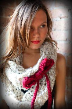 bow crochet scarf