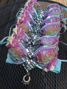 Pastel Rainbow Mermaid Bra Rave Bra Rave by whythecagedbirdsingz