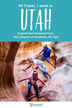 Week 23 of our 1 year RV USA road trip saw us experience one of our best travel adventures yet in Utah. See the blog for the highlights including the Burr Trail Scenic Drive in Capitol Reef National Park and the slot canyons near Escalante. Plus get all our tips, RV lessons and road trip costs from the road.  Amazing hiking with kids, area things to do, best places to stay RVing and boondocking, and more! #Utah #RVtravel #RVlife #RVliving #Rving #familytravel #roadtrip #roadtrips #camping