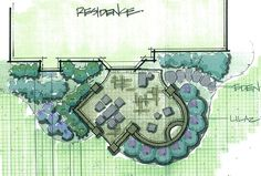 Patio plan incorporates both angled and curved sections to define uses and add interest.