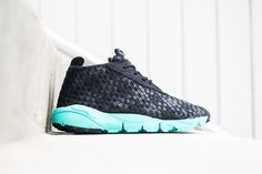 afbe0002af775d Nike Air Footscape Desert Chukka Black Hyper Turquoise  The height of a  chukka silhouette combined with the woven construction of the Nike Air
