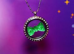 Green Bow Floating Charm Plate Rainbow Colors Sparkling Crystal Kawaii by RepliKitty, $5.00