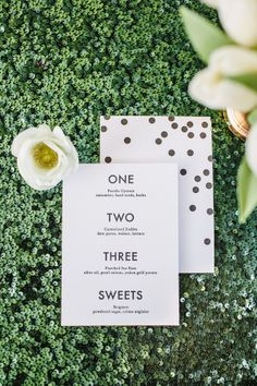 """""""One. two. three. sweets"""" menus by Alissa Bell Press."""