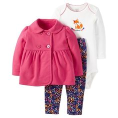 Shop 3-piece sets. A lot of value in this 3-piece set! Peacoat-style jacket and printed pants for baby's first outfit.