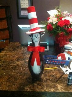 Bowling pin cat in the hat!