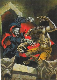Fight to the Finish by Mike Ploog. From the trading card Mike Ploog artwork series, by FPG, Creatures Of The Night, Weird Creatures, Mythical Creatures, Werewolf Vs Vampire, Werewolf Art, Arte Horror, Horror Art, Fantasy Kunst, Fantasy Art