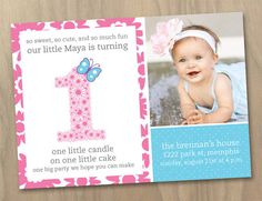 Baby Girl First 1st Birthday Photo Invitation