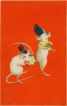 nn090-年賀状 | 絵葉書資料館 Art And Illustration, Illustrations, Painting Inspiration, Art Inspo, Pet Mice, Cult, Graphic Artwork, Korean Art, Japan Art