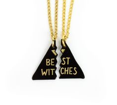 """One+for+you,+one+for+your+best+witch.  both+necklaces+included charms:+die+struck+metal+++soft+enamel,+approx.+1""""+tall+each necklace+chains:18""""+long,+springring+closures"""
