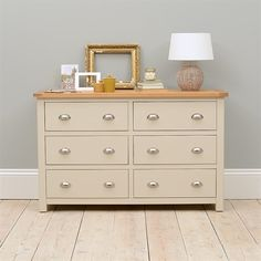 Lundy Stone Grey 6 Drawer Wide Chest (J480) with Free Delivery | The Cotswold Company - PP6CH