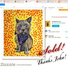 Sold!! 🐾🐶 ...thanks to John in East Berne, New York who bought a print of this 'Cairn Terrier' painting from my Zazzle webstore! #zazzle  #print #dogsofinstagram #cairnterrier #instadog #terrier #portrait #dogportrait #scottishbreed #art #design #artoftheday #zazzlemade #artistsofinstagram #doglover #hund #madra #koira #handpainted #dogs #puppy #dogoftheday #terrierart #dogdesign #dog🐶 #artofinstagram #dogpainting #cairnsofinstagram Cairn Terrier, Dog Paintings, Dog Portraits, Dog Design, Art Day, Dog Lovers, Thankful, Hand Painted, Gift Ideas