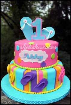 Flop Flop Birthday Cake - This was such a fun cake to make! Birthday party was flip-flop themed, with bright colors.pink, aqua, orange, etc. There was also a matching buttercream smash cake with polka dots. Pool Party Cakes, Luau Cakes, Pool Cake, Beach Cakes, First Birthday Cakes, Birthday Cake Girls, Birthday Ideas, 7th Birthday, Fete Julie