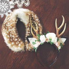Floral deer headband and fur collar SALE
