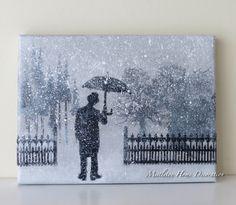 Canvas with Tim Holtz umbrella man - Wintry scene