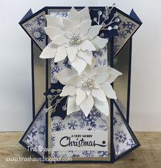 Unique Cards, Creative Cards, Handmade Birthday Cards, Greeting Cards Handmade, Poinsettia Cards, Fancy Fold Cards, Folded Cards, Homemade Christmas Cards, Christmas Ideas