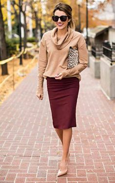 When it comes to fall workwear essentials, there are few styles as put-together and feminine as the pencil skirt. They are polished, profession-looking, and still flirty enough to change your top and wear from office to evening. Here are 13 chic new ways to wear the pencil skirt this fall: Getty ImagesMake head-to-toe color work for the office by opting for burgundy or navy. Keep your silhouette simple with a turtleneck sweater and classic pumps, but take the opportunity to rock some…