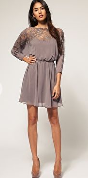 grey solid and lace dress. @Hillary Rumph, if you were getting married in the fall I would beg to wear this dress.