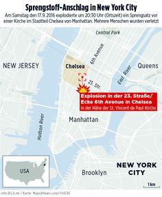 Anschlag vor Kirche in New York City im September 2016 – Karte