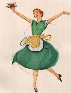 dancing housewife -- do house fraus really look so gleeful & put together while doing chores / preparing meals?
