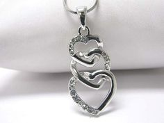 NEW White Gold Plated Entwined Triple Heart Link Charm Crystal Pendant Necklace