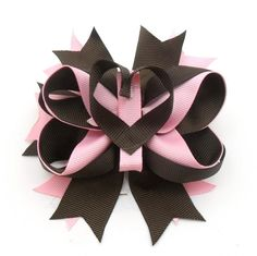 Brown and Pink Heart Hair bow with detachable heart. $7.00