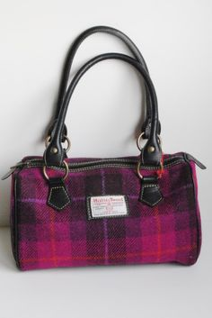 ab11ff8a9f Islay Harris Tweed barrel handbag in cerise tartan with leather trim Tartan  Shoes