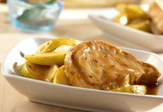 Savory Golden Mushroom Pork and Apples are a great dinner option any time you're looking to make something special for dinner. These delicious slow cooker mushroom pork chops are dressed up with a savory blend of mushrooms and apples. Slow Cooker Pork, Slow Cooker Recipes, Cooking Recipes, Crockpot Dishes, Pork Dishes, Crockpot Meals, Pork And Apple Recipe, Golden Mushroom Soup, Mushroom Pork Chops