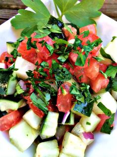 Shirazi Salad by A New York Foodie is a delicious Persian Salad that includes tomatoes and cucumbers. A really simple salad so give it a try! Healthy Meals To Cook, Healthy Cooking, Healthy Snacks, Healthy Recipes, Healthy Fit, Veggie Recipes, Fall Recipes, Whole Food Recipes, Drink Recipes