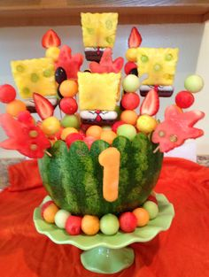 YummyTecture fruit bowl series  Spongebob & Patrick @ Mason's 1st Birthday :)