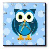 Janna Salak Designs Cute Blue Owl on Light Blue Background Wall Clock, 10 by 10-Inch