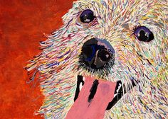 "Art by Debbie Davidsohn entitled ""Harley Pup"" done with acrylics on Bristol board. This dog was rescued by The Pepper Foundation, Studio City."