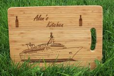 Cruise Ship and Wine bottles Personalised Chopping Board (With Gift Tag), Engraved Personalized Cutting Board - Present, Birthday, Baking Personalised Chopping Board, Personalized Wine Bottles, Beeswax Polish, Wine Bottle Gift, Cruise Holidays, Holiday Mood, Wooden Gifts, Christmas Delivery, Love Gifts