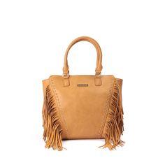 Bolso MARIAMARE estilo shopper con flecos y tachuelas. Efecto piel con asas y compartimentos interiores.