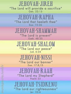 The names of God...use them! They bring so much power to prayer