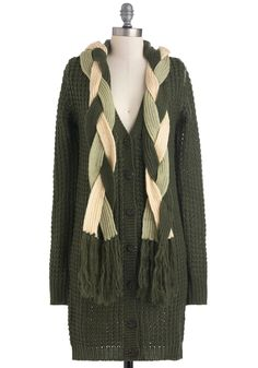Tricks of the Braid Cardigan - Green, White, Solid, Braided, Buttons, Knitted, Casual, Vintage Inspired, Long Sleeve, Long, Fringed, Rustic, Fall, Winter