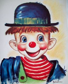 by Dianne Dengel Es Der Clown, Le Clown, Clown Faces, Comic Pictures, Print Pictures, Clown Cirque, Laugh Now Cry Later, Clown Paintings, Watercolor Print