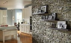 all about stone veneer stone wall with framed art and family photos nantucket stacked stone eldorado stone Stone Interior, Interior Walls, Interior Livingroom, Indoor Stone Wall, Stacked Stone Walls, Stone Wall Design, Brick Design, Stone Accent Walls, Faux Stone Walls