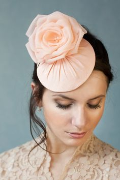 Bridal Hat with Silk Flower Millinery Bridal by BeChicAccessories