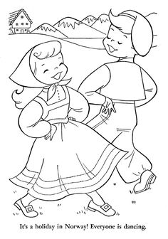 Norwegian Coloring Page Colouring Pages, Coloring Pages For Kids, Coloring Books, World Thinking Day, Girl Scout Troop, Digi Stamps, Lilo And Stitch, Vintage Colors, Line Drawing