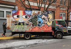 Box Trucks as Rolling Graffiti Marquees : Brooklyn Street Art Graffiti art trucks  as seen moving around the citys art movement https://www.etsy.com/shop/urbanNYCdesigns?ref=hdr_shop_menu #graffiti #streetart #graffititrucks