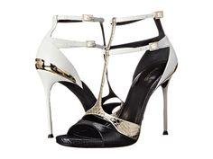 Roberto Cavalli Began Ayers Patch Heel Black/White/Gold - 6pm.com