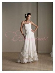 Chiffon Ruffled Sweetheart Bustier Desinger A Line Wedding Dress