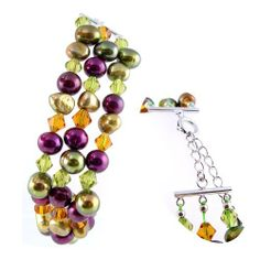 """AugustinaJewelry Triple Strand 7.5"""" Bracelet made of Freshwater Cultured Pearls and Crystals *** AugustinaJewelry Special Design ! Augustina Jewelry. $54.95. Save 50% Off!"""