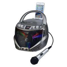 Karaoke USA Bluetooth Portable CD-G Karaoke Player with Flashing LED Lights, Multicolor