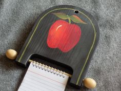 Wood Memo Pad Holder  Apple Theme on Black by CranberryWoods