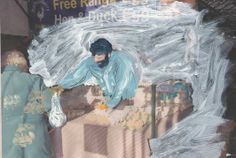 'man at the market' - over painting onto photographs