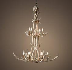 long antler chandelier in stairwell - Google Search