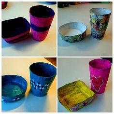Kunst og håndverk på Fjellhamar skole: Design av kopp og skål i papir-mache.